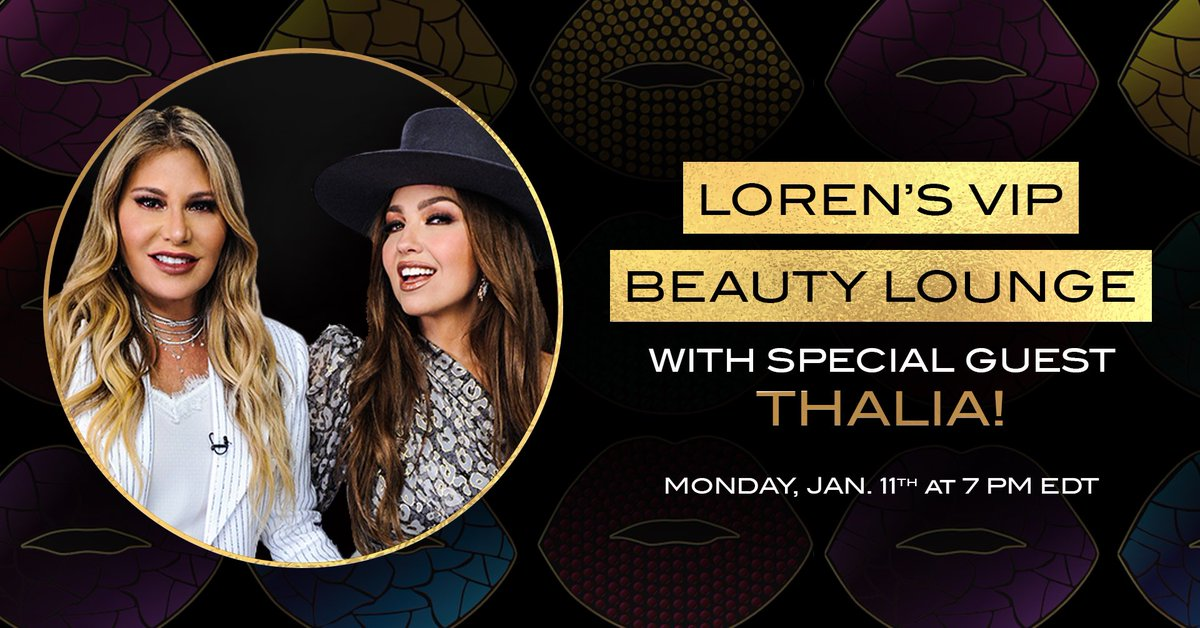 RSVP! @thalia at @lorenridinger first VIP Beauty Lounge of the year! #TheQueenOfLatinPop using the Thalia X @motives BESOS Palette💋  January 11th @ 7PM EST✨   RSVP here:   #ThaliaXMotives #ThaliaBesos #MDCCalifornia #MDCThalia #ThaliaMDCContigoSiempreEsta