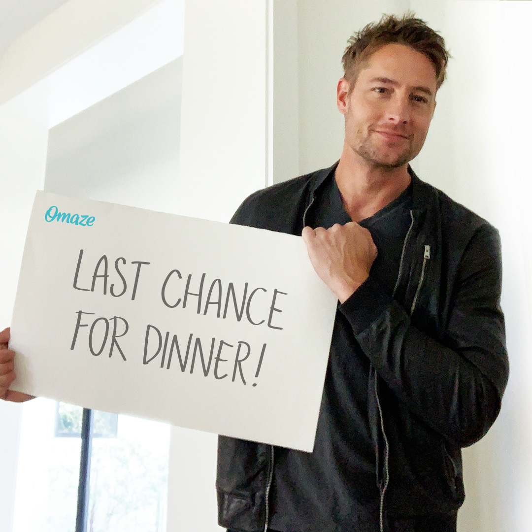 This is... your last chance to win a family-style dinner with @justinhartley and @SullivanTweet when it's safe to travel again!   Support Operation Therapy and enter ASAP:   #omaze #thisisus #justinhartley #chrissullivan