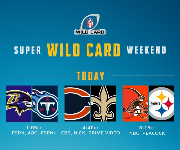 We've got another whole day of #SuperWildCard #NFLPlayoffs games today! Time to cheer on your teams 🙌. Don't forget the Pepsi.