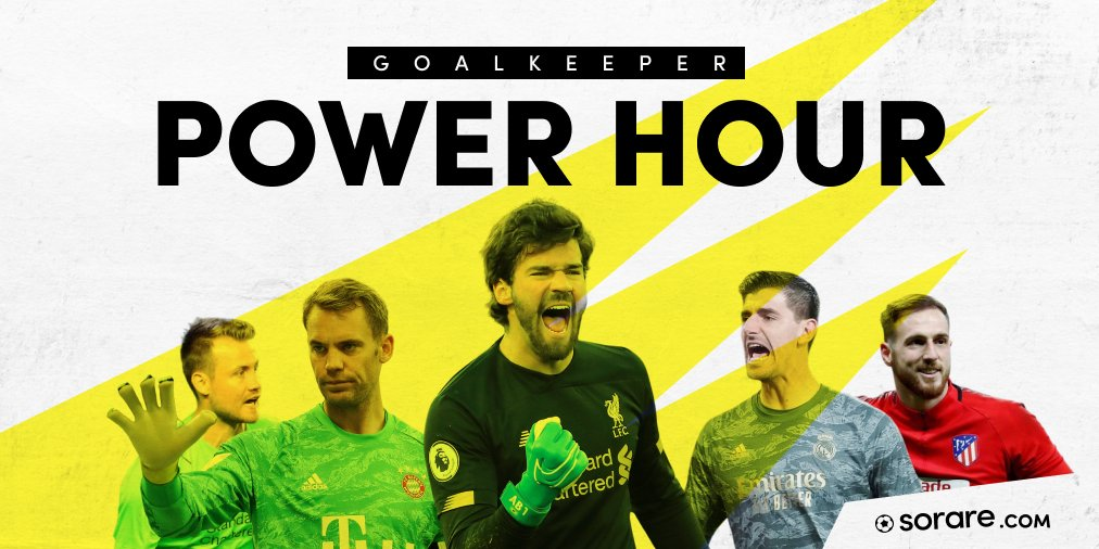 Join us on later for a Goalkeeper Special Power Hour! 🚀  ⏰21:00 - 22:00 UTC  Featuring the best Goalkeepers in the game, you'll be in safe hands with these guys.  We're ending the Power Hour with a showdown of the Unique #Alisson and #Courtois cards. See you there! 🍿