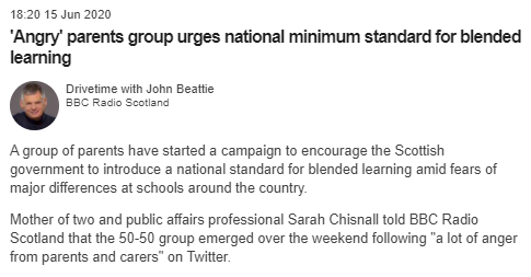 2/The group came to our attention in June last year when they appeared on BBC Scotland news attacking the Scottish Govt. The group spokesperson - and co-founder - was a Sarah Chisnall, who was presented as a 'Mother of two and public affairs professional'.