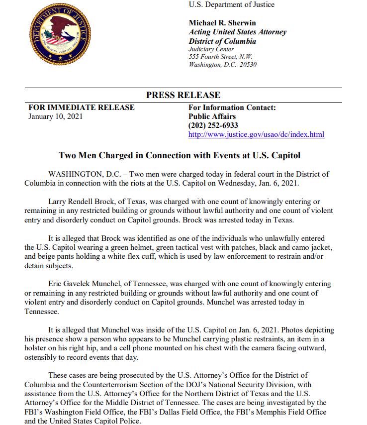 BREAKING U.S. counterterrorism prosecutors investigating men arrested Sunday who allegedly carried zipties in U.S. Capitol breach.