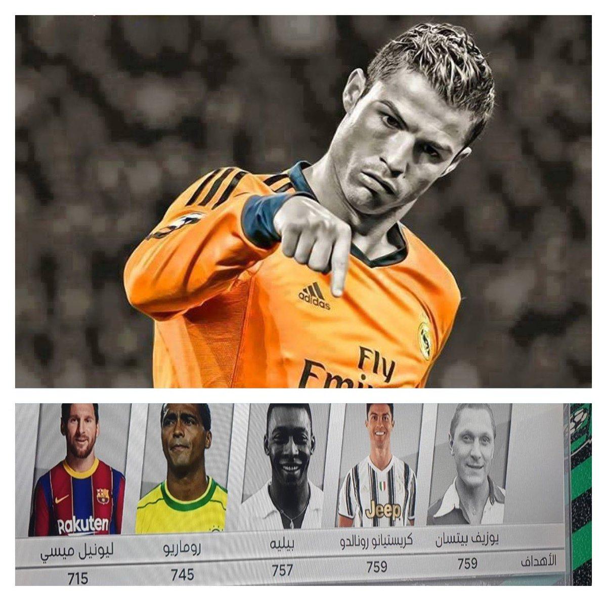 بعد مباراة اليوم كريستيانو رونالدو يُصبح الهداف التاريخي في تاريخ كرة القدم متعادلاً مع جوزيف بيكان بـ 759 هدف كم انت عظيم يا ابن ماديرا @Cristiano