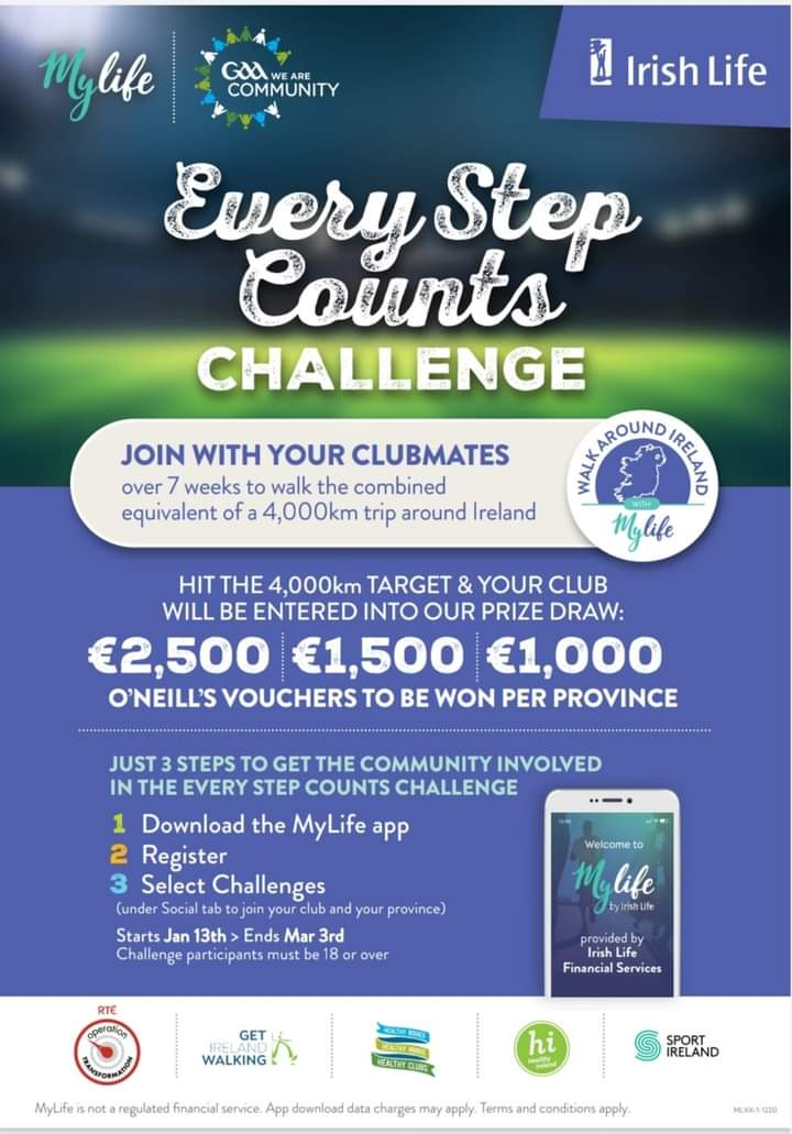Our club has registered to take part in Irish Life Steps Challenge* . Great initiative to get us all our walking and out in fresh air. All clubs that walk4000km will be entered into prize draw. Details in attachment how to sign up.Starts Wednesday13thJanuary.Lets keep moving🏃♂️🏃♀️