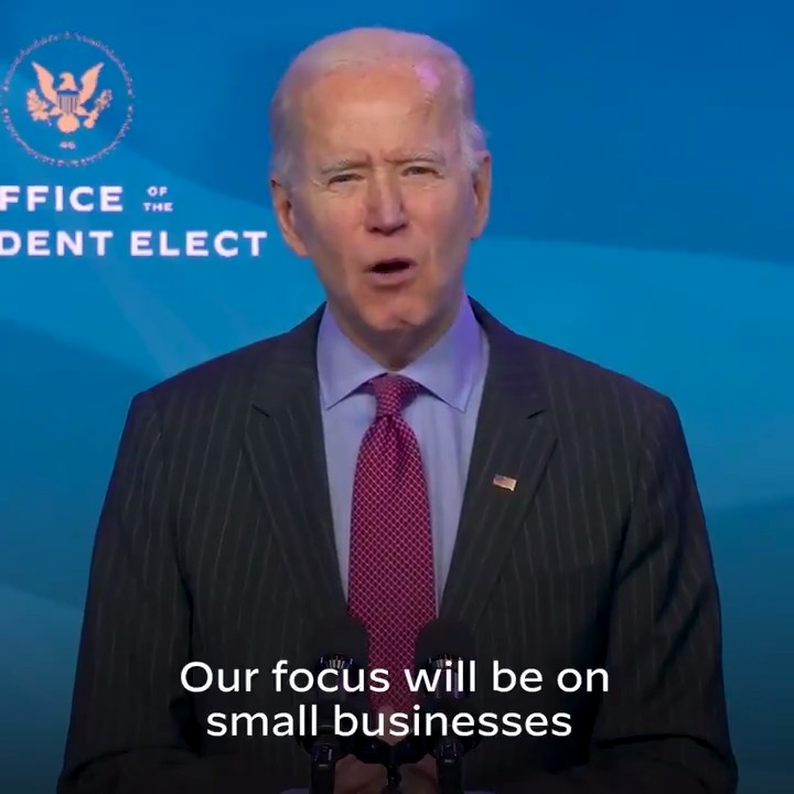 """""""Our priority will be Black, Latino, Asian, and Native American owned small businesses, women-owned businesses, and finally having equal access to resources needed to reopen and rebuild."""" — President-elect Biden"""