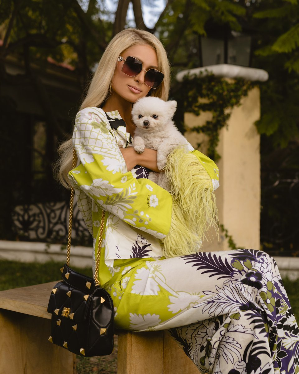 Beautiful day at home with my baby Princess Paris Jr rocking @MaisonValentino for @VogueMagazine. ✨👸🏼🐶✨