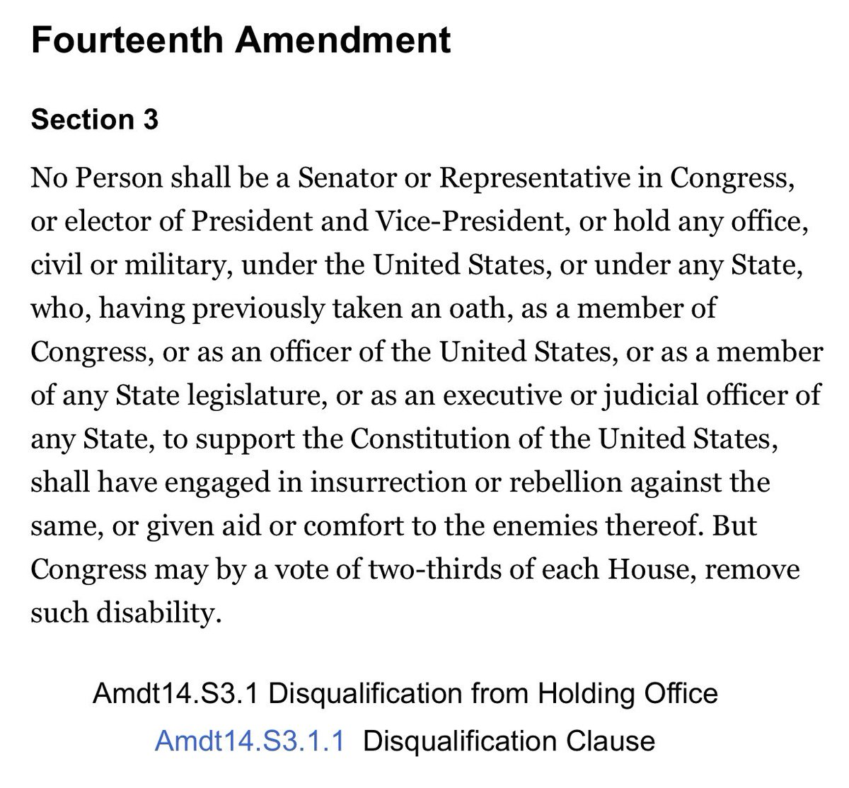 This clause from the 14th Amendment to the Constitution seems very relevant.