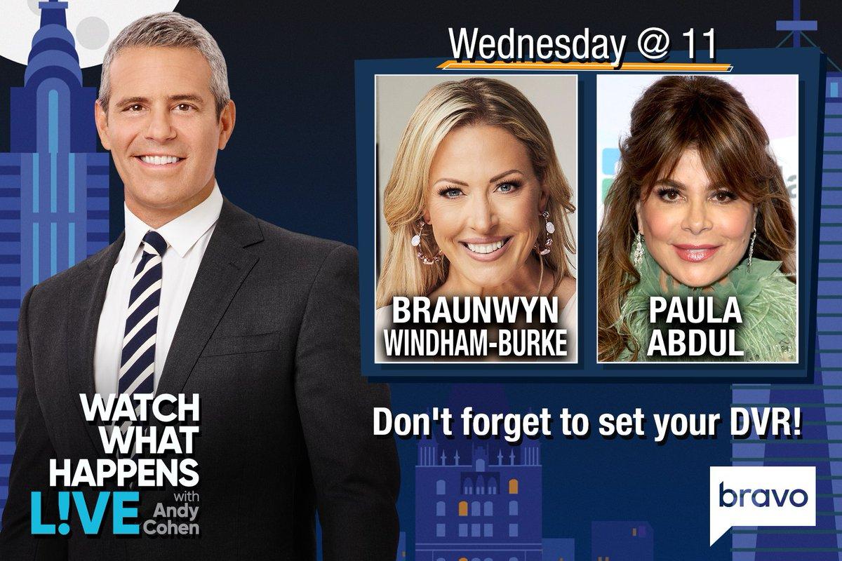 TONIGHT at 11/10c, it's #WWHL with @Braunwyn & @PaulaAbdul!