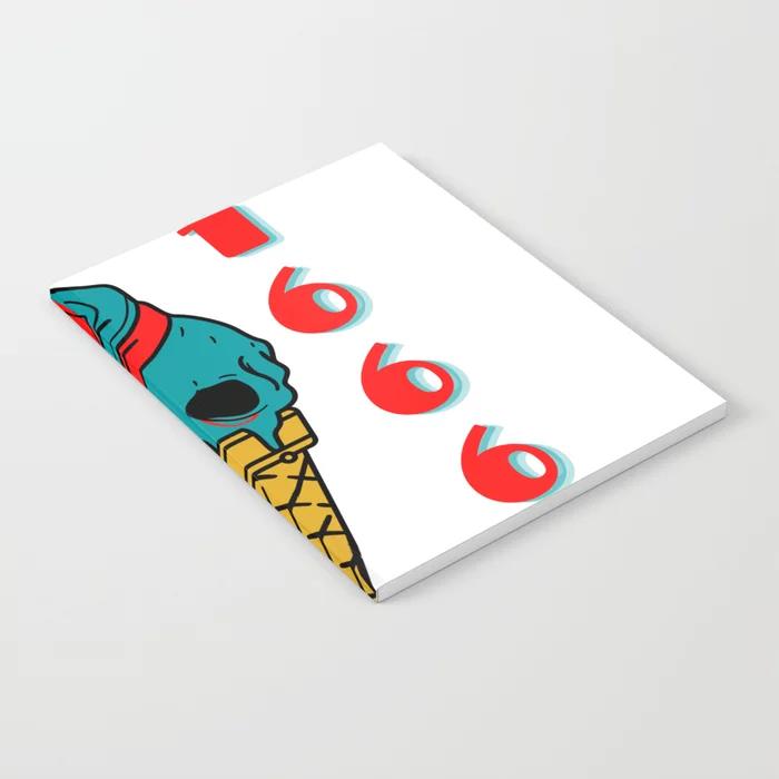 Skull Icecream est. 1666 Notebook by abuddymerch      #abuddy #artist #artistsontwitter #artistontwitter #art #design #designer #notebook #notebooks #textbook #textbooks #office #college #school #supplies #skull #skeleton #icecream