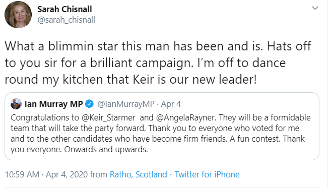 3/We quickly established that there was a bit more to this 'mother of two' than the BBC was mentioning.Sarah Chisnall was also a member of the Labour party who only months earlier had tweeted her delight at Keir Starmer becoming the new Labour leader.And there was more ...