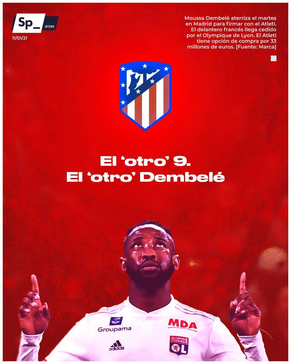 Moussa Dembelé aterriza el martes en Madrid para firmar con el Atlético de Madrid. El delantero francés llegará cedido por el Olympique de Lyon. El Atleti tiene opción de compra por 33 millones de euros. #PortadaSp_ 🗞 [Fuente: Marca]