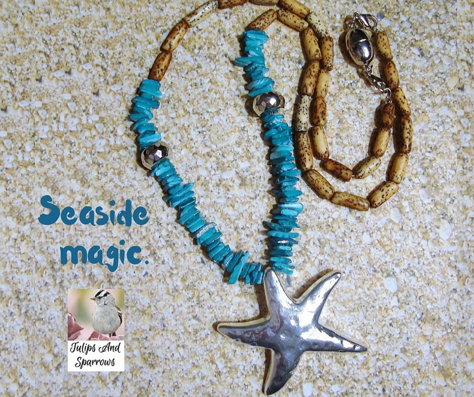 #shellnecklace #summerjewelry #starfishnecklace #woodjewelry #dramaticjewelry #summernecklace #beachjewelry https://t.co/r7qf1WSiVy