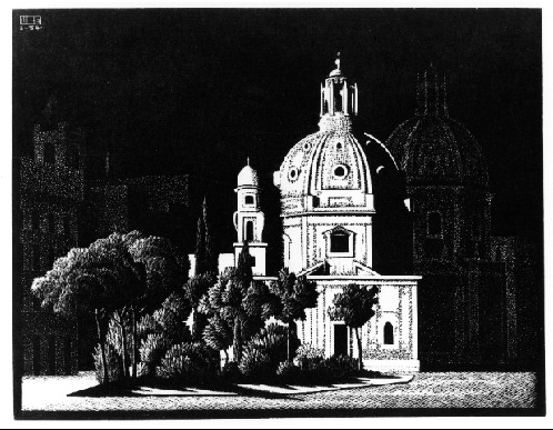 Nocturnal Rome, 1934 #mcescher #surrealism