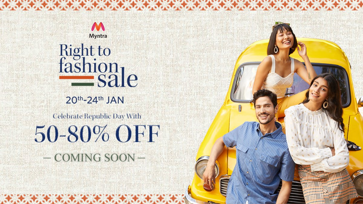 Get ready to celebrate Republic Day with #Myntra Right To Fashion Sale from 20th to 24th January, bringing you 50% to 80% off on your favourite fashion brands.  Take a sneak peek here and start wish-listing NOW!     #MyntraRightToFashionSale