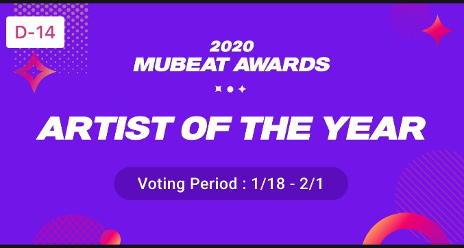 🏆 Vote for the girls on Mubeat Award 2020!  🔘#RedVelvet: Arist Of The Year  🔘#WENDY 💙, #JOY 💚, #YERI 💜: Best Female Solo  🗳 Voting period: 18/1 - 1/2 📝 Watch Ads daily and do missions to collect voting tickets  @RVsmtown