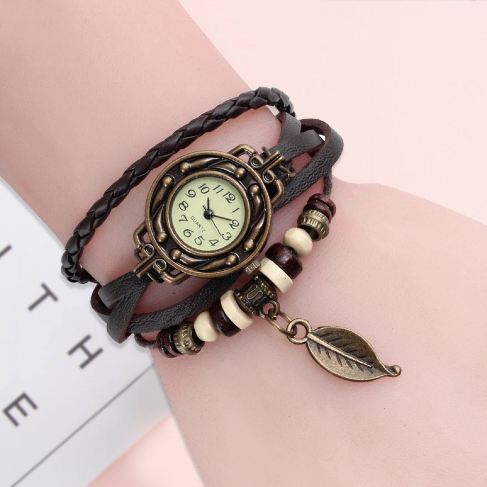 Vintage Dress Watch with Genuine Leather Bracelet #swag #summer