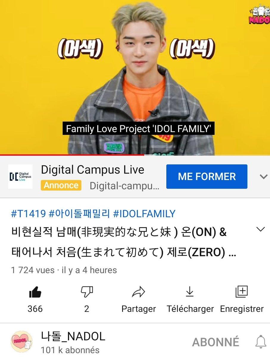 """18.01.21┊YouTube   ➵ #ZERO apparaît dans l'épisode d'Idol Familly avec #ON ! Ils doivent appeler un membre de leurs familles et leurs dire """" Je t'aime """" 😝🖤  🖇"""