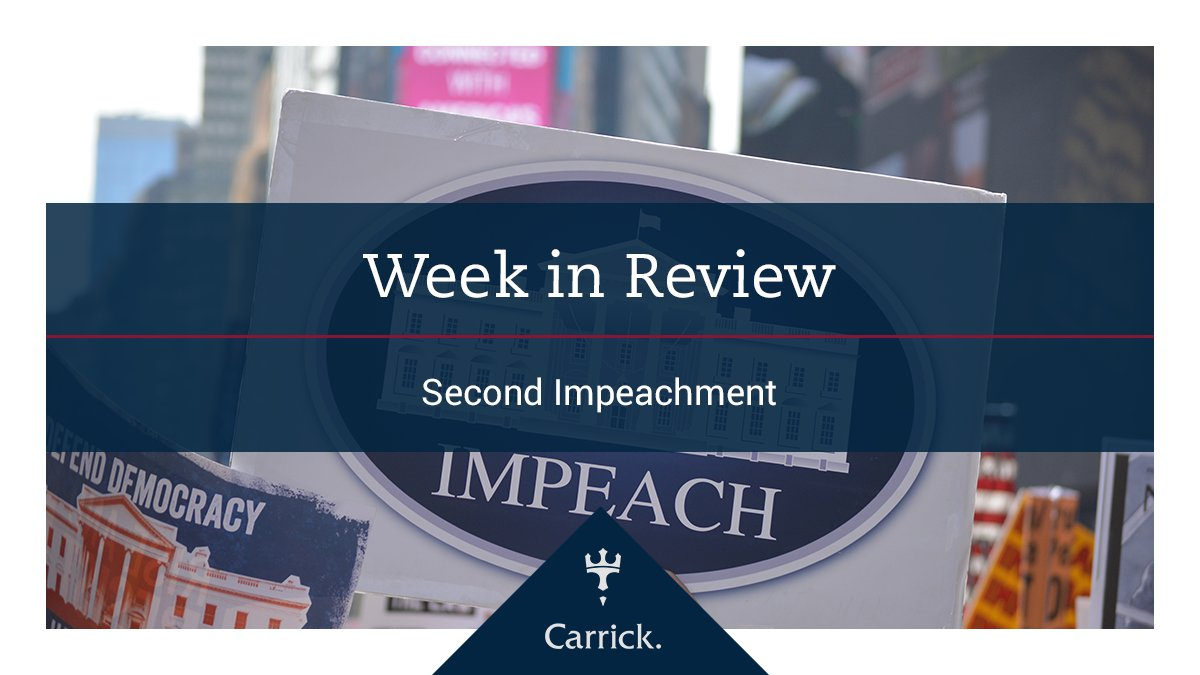 U.S. #equities ended the second week of the year lower, as President Donald Trump was #impeached by the House of Representatives on Wednesday, making him the first president in U.S. history to be impeached twice.    #globalmarkets #wealthmanagement