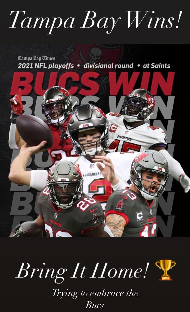 Congratulations, Bucs! @Buccaneers 🍾🎉. Bring it home! 🏆 #GoBucs  @JAMS407  #DivisionalRound #TBvsNO #NFLPlayoffs