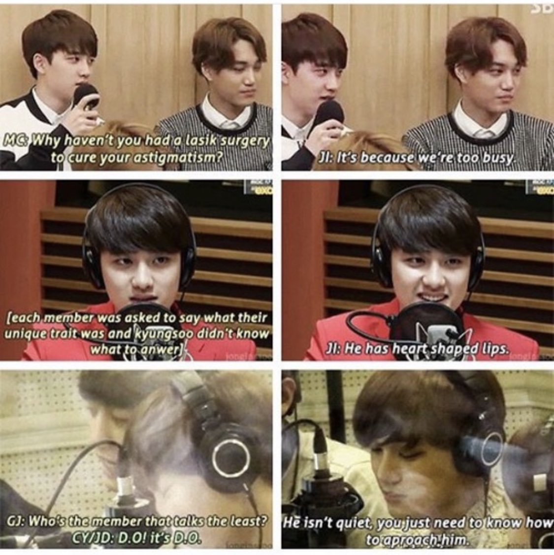 Mc:we have a question for Kyungsoo and Kyungsoo ONLY Jongin:yes?