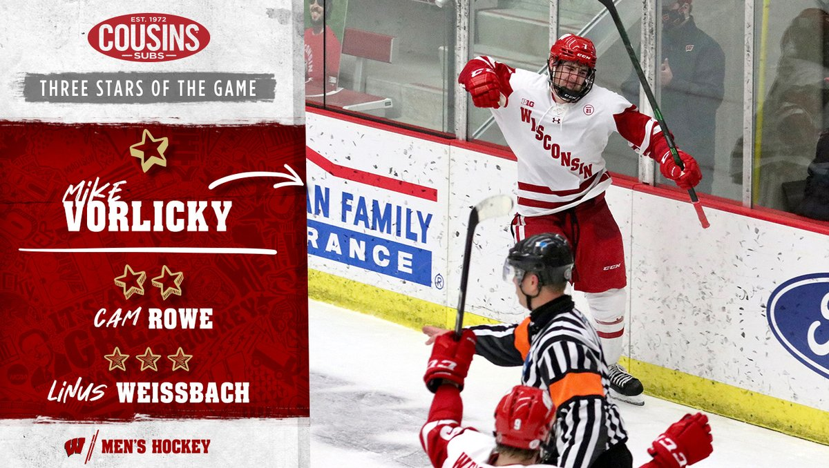 Your three stars of the game from tonight's 5-2 WIN 🤩  Mike Vorlicky scored his first goal of the season, and it was the game-winner!  ⭐️@Mikevorlicky (1 goal, GWG) ⭐️⭐️ Cam Rowe (25 saves) ⭐️⭐️⭐️ @LinusWeissbach (1 goal, 1 assist)  #OnWisconsin    @cousinssubs