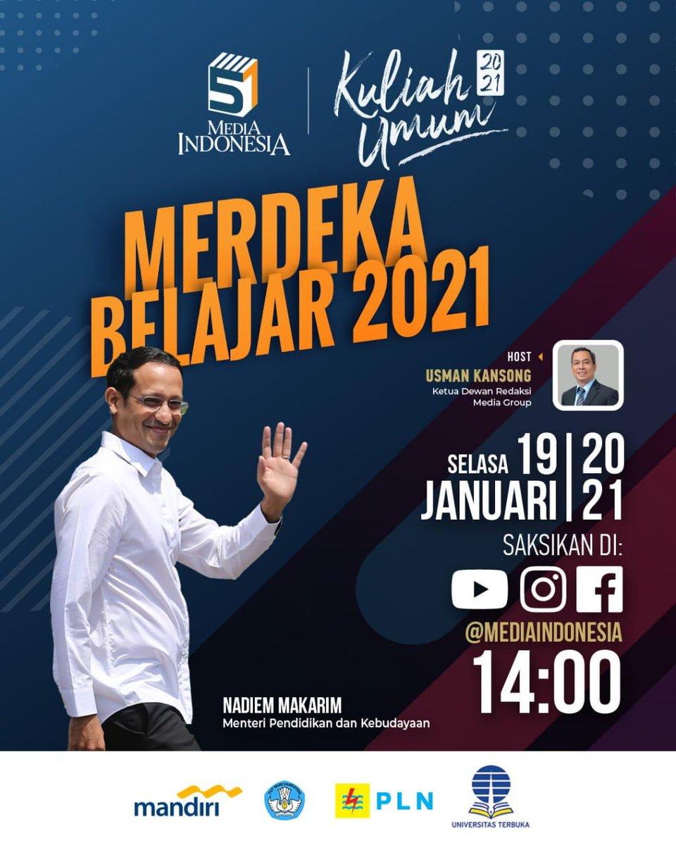 """Dalam rangka HUT ke-51 Media Indonesia menghadirkan Kuliah Umum """"Merdeka Belajar 2021"""" bersama Nadiem Makarim, Menteri Pendidikan dan Kebudayan.  Saksikan Selasa, 19 Januari 2021 Pukul 14.00 WIB di Youtube, Instagram Live, dan Facebook Media Indonesia.  #HUT51MI #MI51 #MTVNAD"""