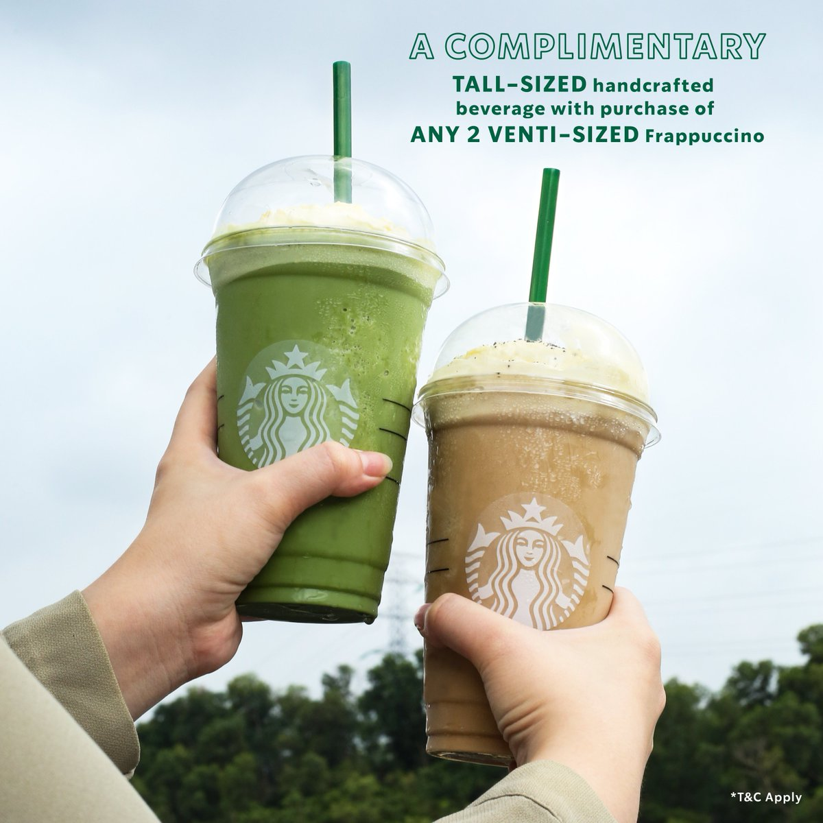 Set your reminders on for TODAY! It is Monday and get your complimentary Tall-sized handcrafted beverage with purchase of ANY 2 Venti-sized Frappuccino. *T&C Apply https://t.co/TM3DRcA1Ht