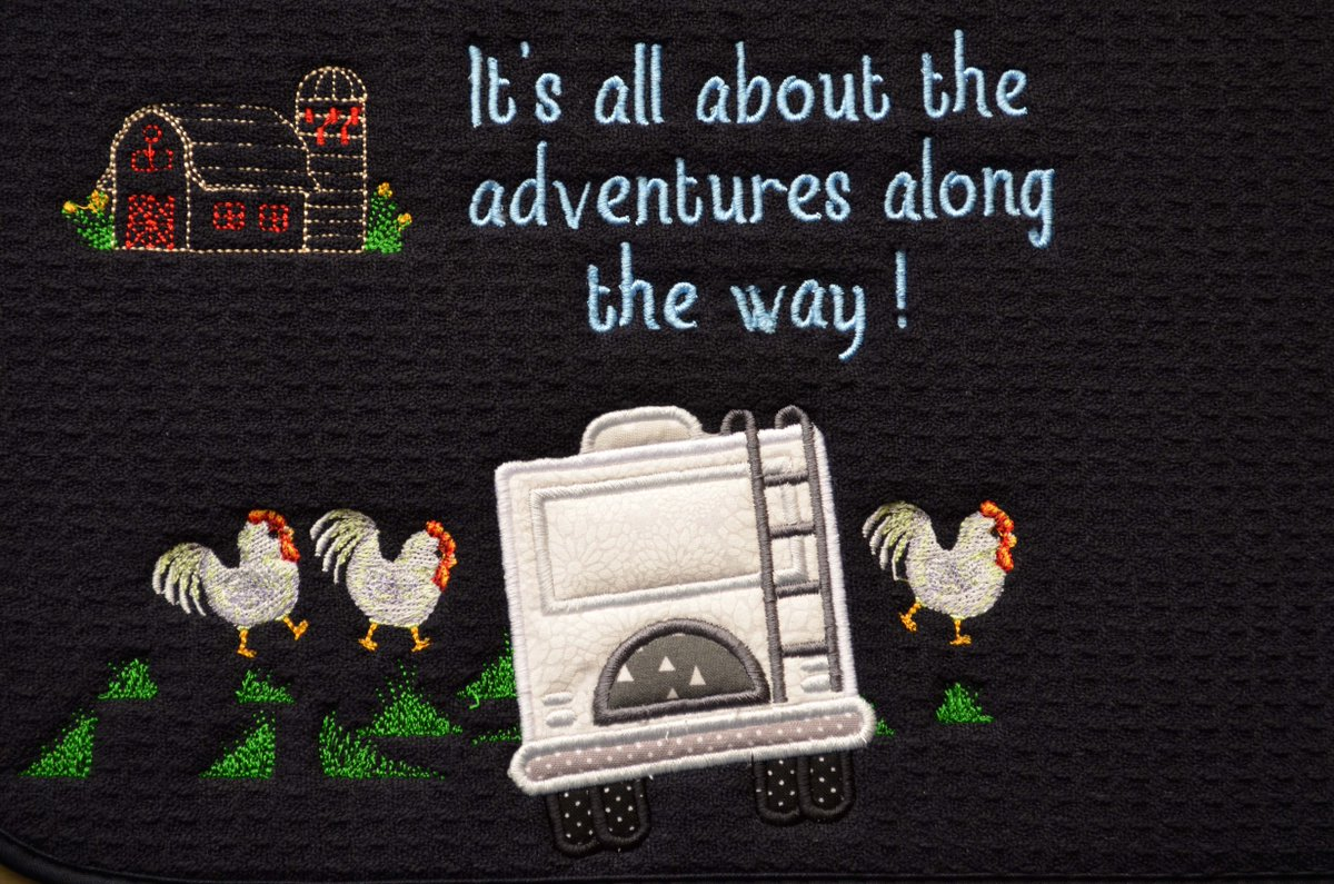 RV Dish Drying Mat. Applique and Embroidery.  Great Gift.  #pottiteam #follow4follow
