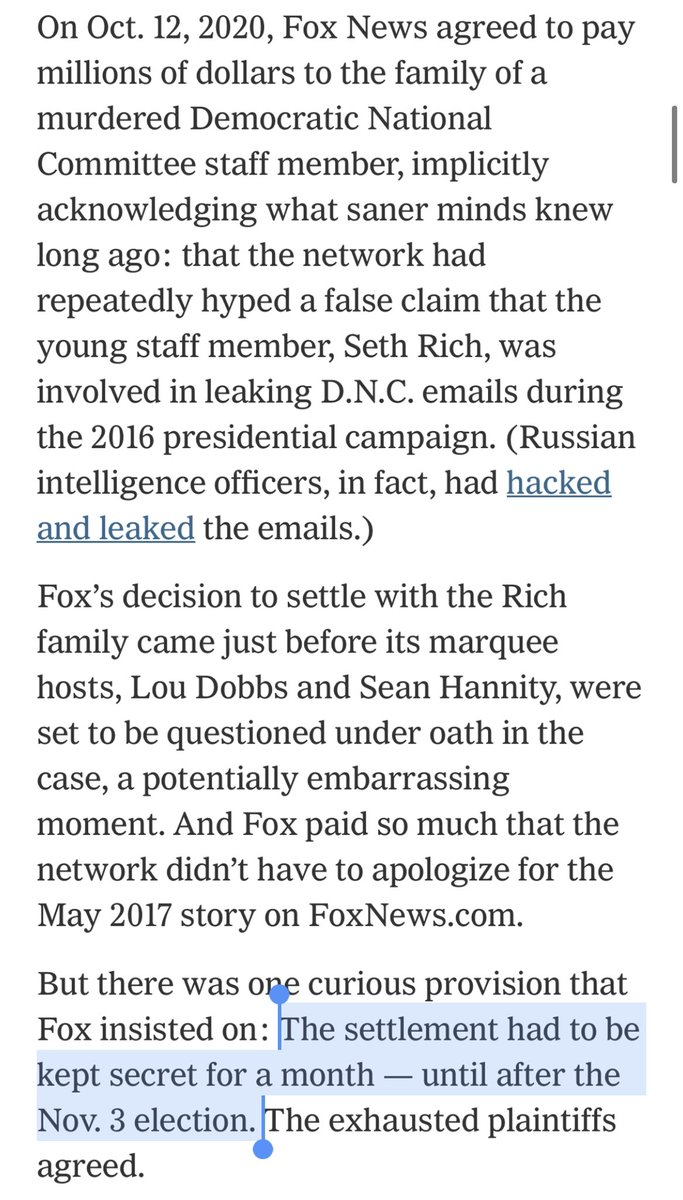 Fox News insisted its settlement with Seth Rich's family stay secret until after the presidential election.