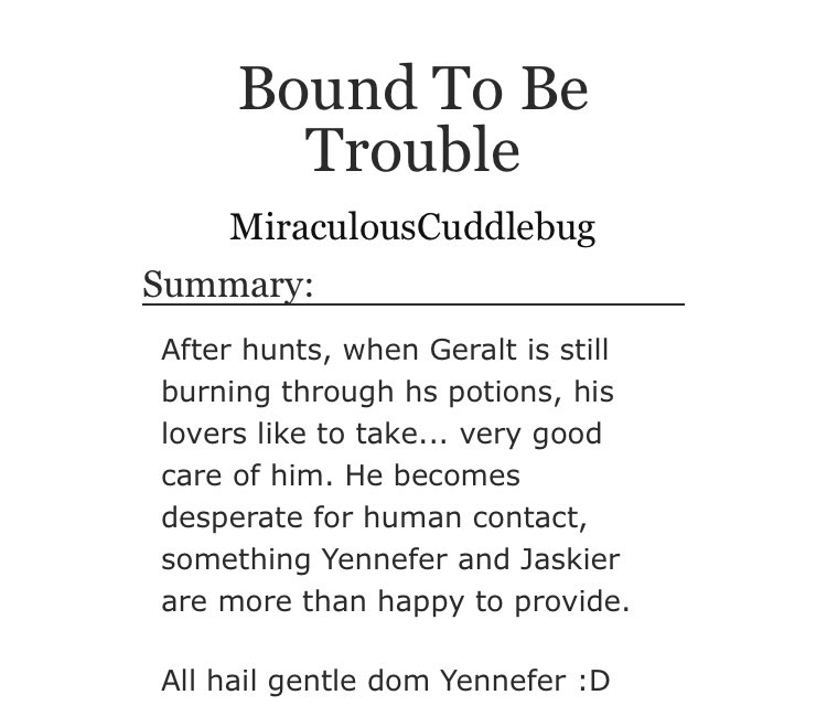 Alrighty y'all I posted my Geraskefer porn lol Maybe now I'll finish writing the Courtesan Jaskier AU people voted for 300 years ago... 😓 (Link in the tweet below!)