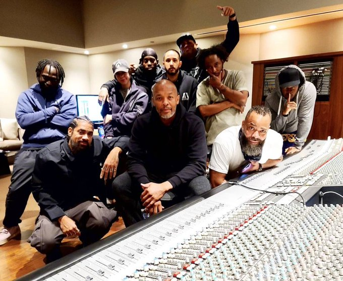 Dr Dre back in the studio just a day after release from hospital for brain aneurysm Photo