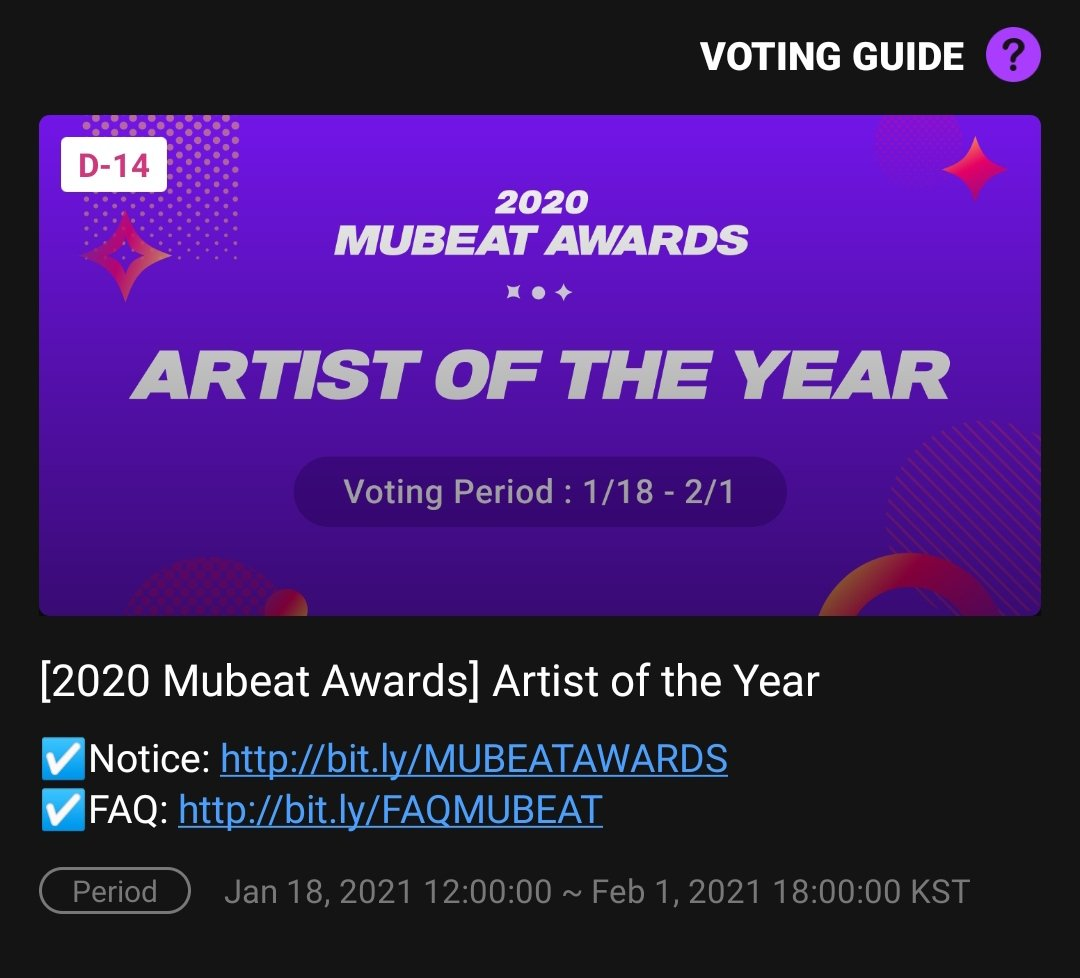📢 MUBEAT VOTING  Kai is nominated in 4 categories on 2020 Mubeat Awards. Please vote for him!   AOTY:  Best Male Solo:  SOTY:  MV of the Year:   End: Feb 01, 18:00 KST  #KAI #카이 #EXO