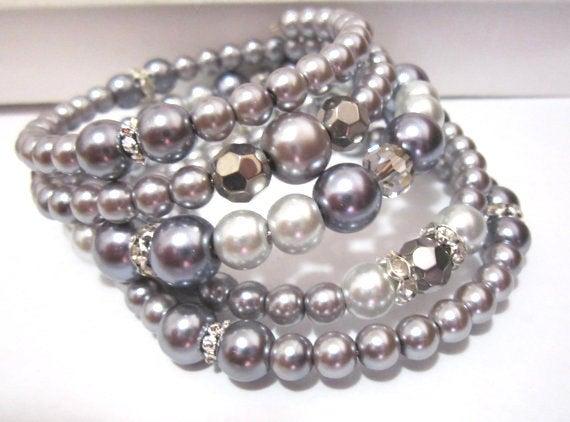 Gray Pearl Cuff Bracelet,  via @EtsySocial #shoplocal  #handmade  #pearlbracelet #pearlandrhinestone