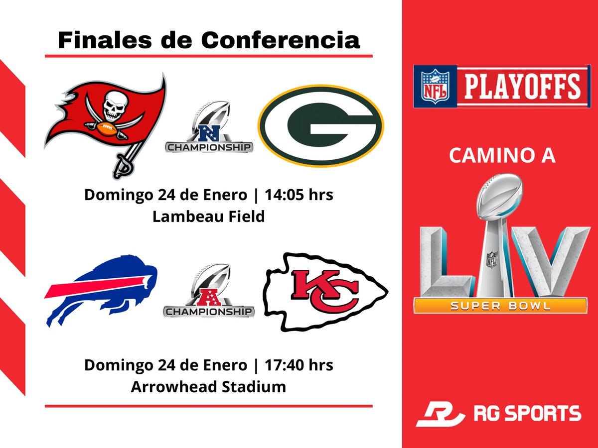 ¡El #SuperBowlLV esta cada vez más cerca! 🔥🏈  Definidos los encuentros para las Finales de Conferencia dentro de la @NFL. 🏈  🏴☠️ @Buccaneers 🆚 @packers 🧀    @BuffaloBills 🆚 @Chiefs 🔴