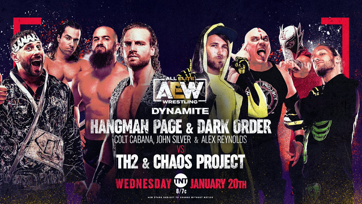 It's the birthday celebration of -1 as @theAdamPage teams with @ColtCabana, @YTAlexReynolds & @SilverNumber1 of #DarkOrder to take on @KillLutherKill & @KingSerpentico Chaos Project & TH2 @AngelicoAAA & @JackEvans711! Get your tickets for #AEWDynamite via