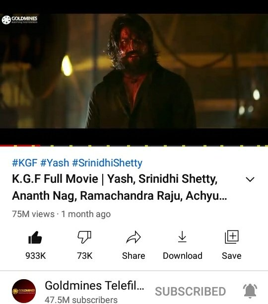 #KGFChapter1 Bhojpuri Version Hits 75M+ Views On YouTube 💥💥  ▶️  @TheNameIsYash @SrinidhiShetty7 @YashBossEdits @YashTrends @BeingNimmaYash @YashUpdates @prashanth_neel @OfficialYashFc @Yashbalaga @YashTeluguFc @TeamOnlyYash @YashFC @RSYHCF @hombalefilms