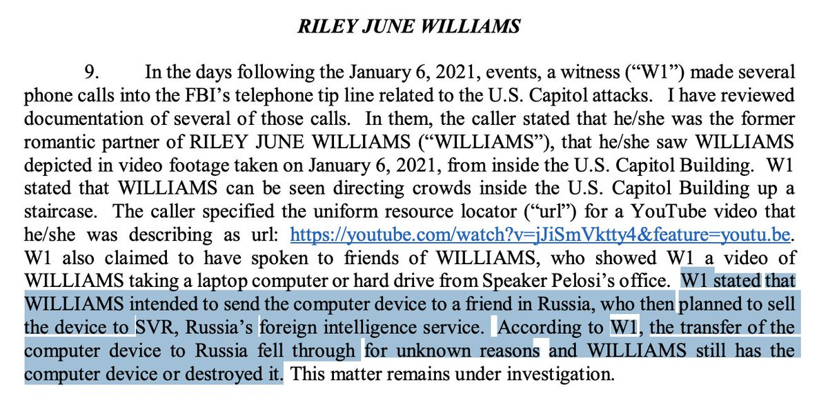 Photos show that the woman, Riley Williams, was in the Capitol near Pelosi's office during the riot.  A witness believed to be a former romantic interest said friends showed him a video of Williams discussing plans to sell device to Russian intel.