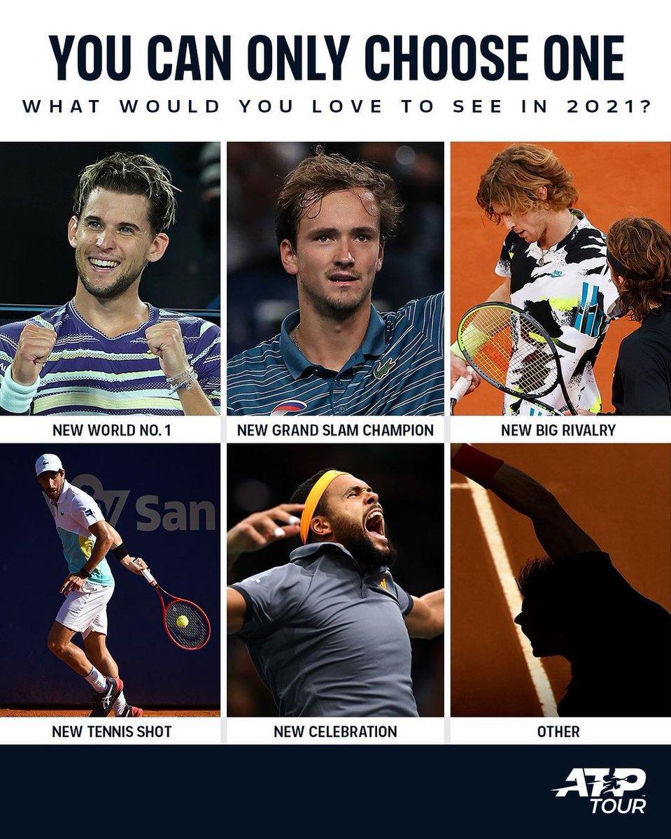 ¿Qué amarías ver en 2021?  A. Un nuevo No. 1 del 🌎  B. Nuevo campeón de Grand Slam 🏆  C. Nueva gran rivalidad 💥  D. Nuevo truco 🎩  E. Nueva celebración 🕺  F. Otra ❓