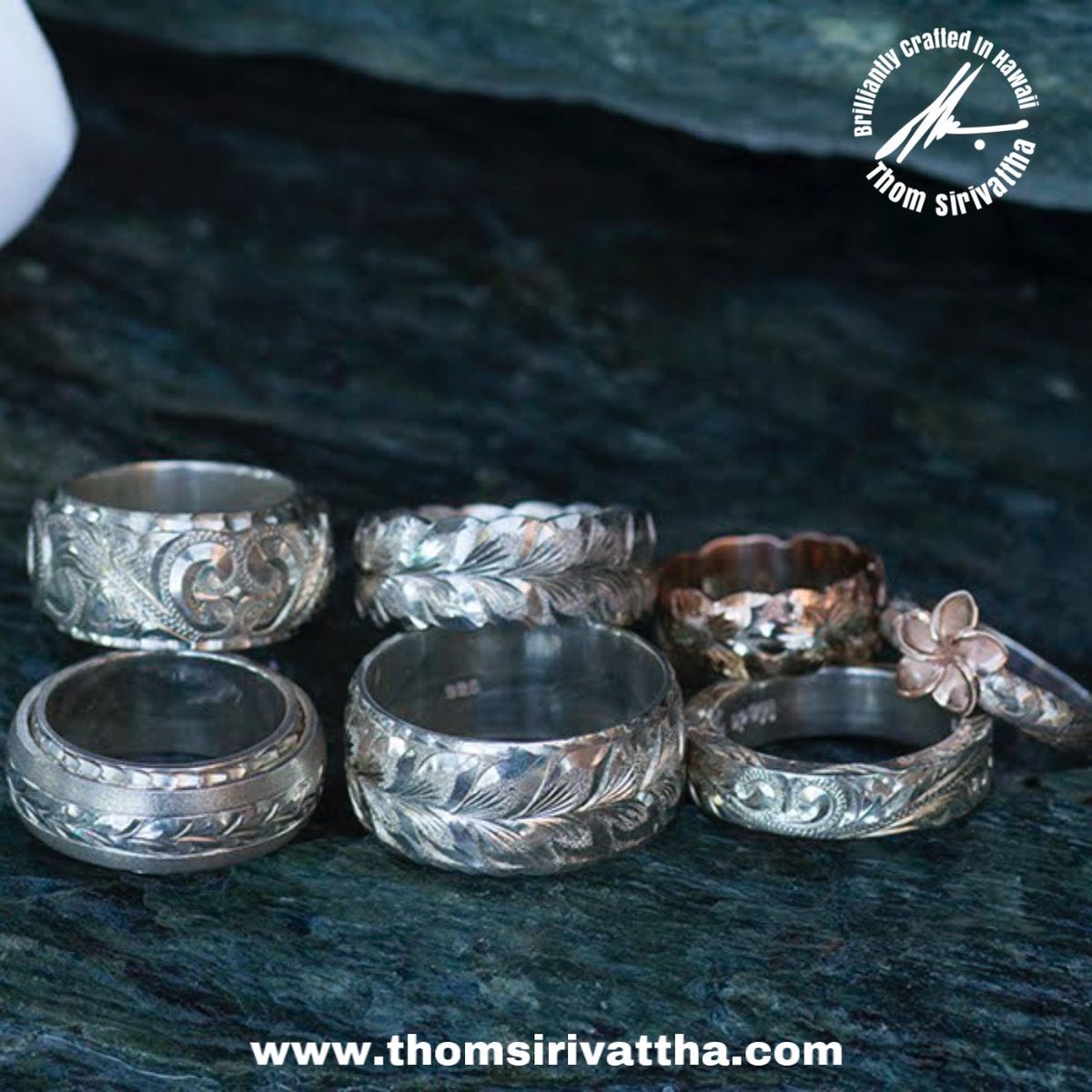 """It's not too late to """"ring"""" in 2021 with some bling! Choose from my collection of beautiful designs and engraving styles.  #thomsirivattha #lahanajewelry #brilliantlycraftedinhawaii #hawaiiartists #hawaii #madeinhawaii #hawaiilife #shoplocal #hawaiianjewellery #ring"""