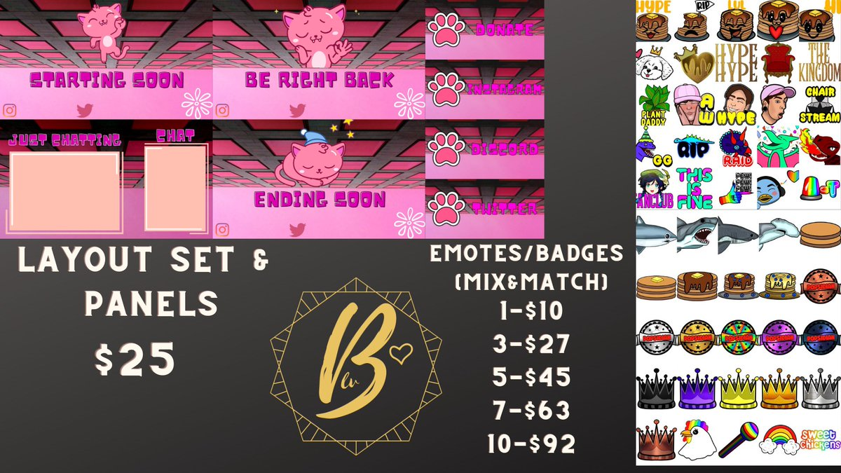 TWITCH COMMISSIONS OPEN.   Stream Layouts, Panels, Emotes & Badges! check out my work on #twitch ! @ben_cakes  @roadside_king  @journeyhome_  @sammbnails5  @cafenby  @ArnotChris  @POPsidian  @PauliegonGaymer   << send them love! my links:
