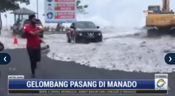 #MetroSiang Beredar video warga mengenai kondisi cuaca buruk, angin kencang, dan gelombang di sejumlah tempat perbelanjaan di jalan protokol Manado. BMKG merilis peringatan dini gelombang 1,5-2 meter. Streaming: