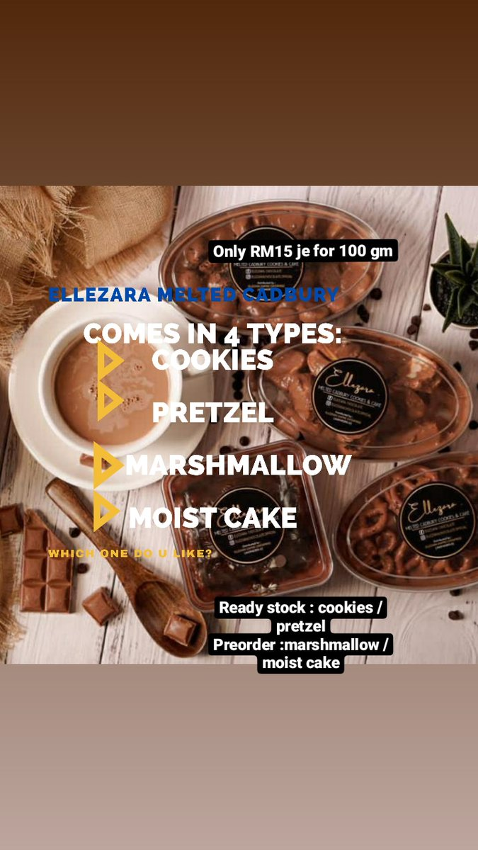 ✅Ready stock : cookies / pretzel ✅Preorder :marshmallow / moist cake RM 15 = 100 GM RM 25 = 200 GM https://t.co/qUbvEpZAcT