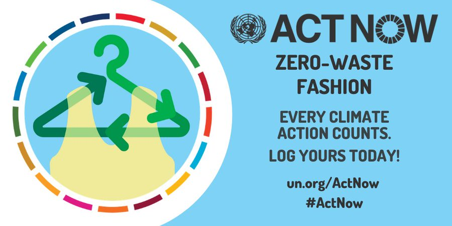 #ActNow to become part of the zero-waste fashion movement: 👕 Buy eco-friendly clothes  👖 Shop second-hand  ♻️ Upcycle your old clothes  Every #ClimateAction counts.    📲