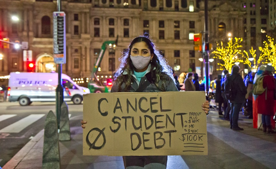 ".@astradisastra on ""the illusion of prosperity"" in the US and the need for Biden, with an executive order, to #CancelStudentDebt during his first 100 days -- on @thenation podcast 'Start Making Sense'  @StrikeDebt"
