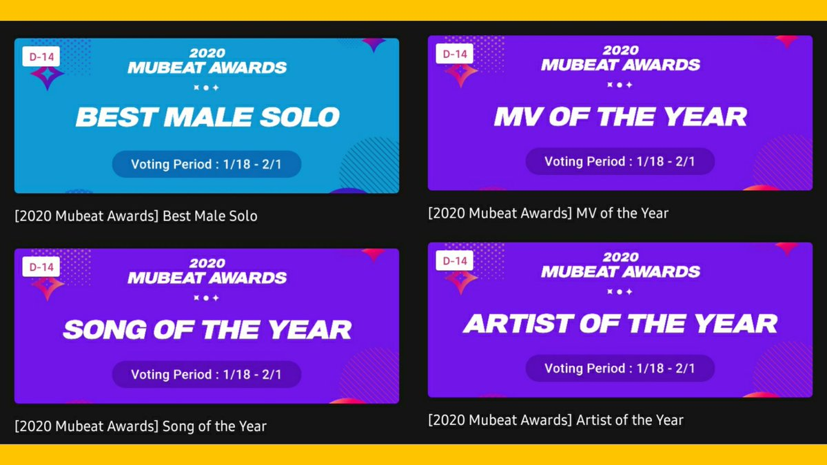 [📣] #KAI is nominated in 4 categories on 2020 MUBEAT MUSIC AWARDS 📅 ~2/1  ■ Best MALE SOLO: KAI 🔗 ■ MV OF THE YEAR: MMMH 🔗 ■ SONG OF THE YEAR: MMMH 🔗 ■ ARTIST OF THE YEAR: KAI 🔗