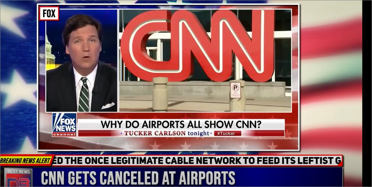 CNN cancels its airport ads, which ran numerous screens of CNN to unhappy, trapped, fliers. $100 bucks says the BBC bought them out. Greeeeaaat. Thank you @NextNewsNetwork for the great reporting! Video:   #MAGA #Trump #QAnon @TuckerCarlson #CNNQuits