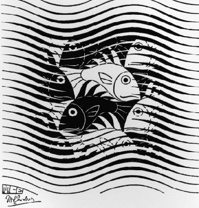 Fishes in Waves, 1963 #escher #mcescher