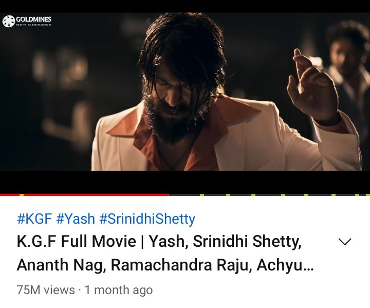#KGFChapter1 Full Movie Crossed 75M Views On YouTube...    Nearly at 1M Likes...  #YashBOSS  #KGF #KGF2  #KGFChapter2  #KGF2TeaserOutNow  #KGF2Teaser150MViews