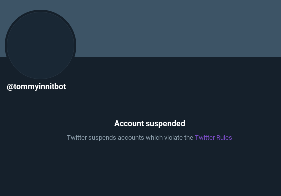 #freetommybot CMON MAN THIS ACCOUNT WAS SO FUNNY