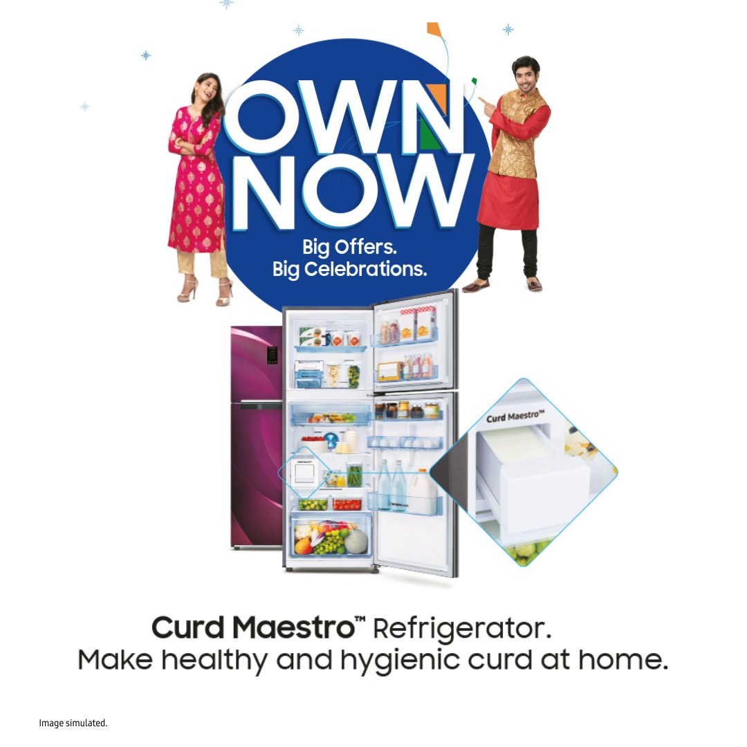 Don't let the changing weather conditions affect the consistency of your curd! Make healthy, hygienic and perfect curd with the Samsung Curd Maestro™ Refrigerator. Own now and get up to 15% cashback and easy EMIs starting ₹990. T&C apply.